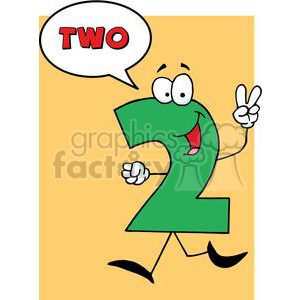 Funny-Number-Guy-Two-With-Speech-Bubble clipart. Royalty-free image # 381272
