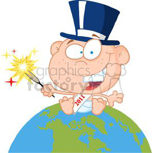 New-Year-Baby-Above-The-Globe clipart. Royalty-free image # 381282