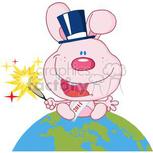 New-Year-Baby-Rabbit-Above-The-Globe clipart. Commercial use image # 381292