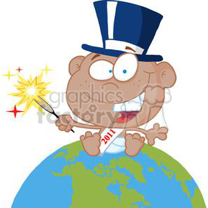 African-American-New-Year-Baby-Above-The-Globe clipart. Royalty-free image # 381297