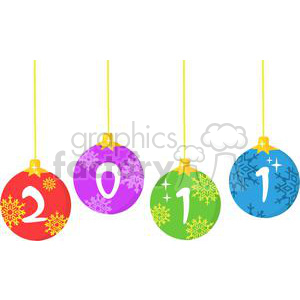3847-2011-Year-Christmas-Balls clipart. Royalty-free image # 381307