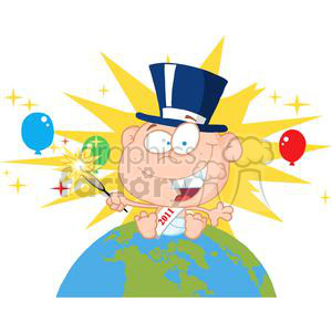 New-Year-Baby-With-Fireworks-And-Balloons-Above-The-Globe clipart. Royalty-free image # 381312