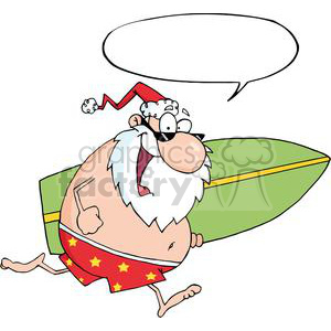 Santa-Running-With-A-Surfboard-With-Speech-Bubble clipart. Royalty-free image # 381322