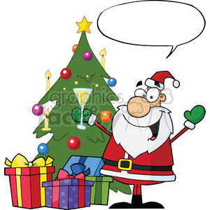 Christmas-Santa-Drinking-Champagne-And-Standing-By-A-Tree-With-Speech-Bubble clipart. Royalty-free image # 381332