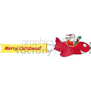 3809-Santa-Flying-With-Christmas-Plane-AndA-Blank-Banner-Attached clipart. Royalty-free image # 381337