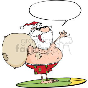 Santa-Claus-Carrying-His-Sack-While-Surfing-With-Speech-Bubble clipart. Commercial use image # 381342