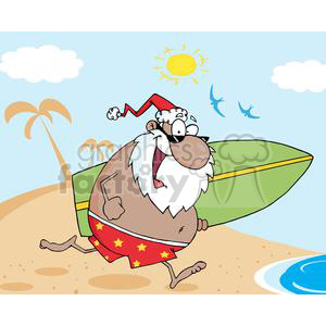 African-American-Santa-Running-On-A-Beach-With-A-Surfboard clipart. Royalty-free image # 381352