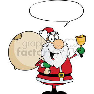 Santa-Claus-With-Speech-Bubble-Waving-A-Bell clipart. Royalty-free image # 381367