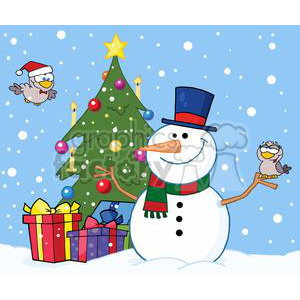 3702-Friendly-Snowman-With-A-Cute-Birds