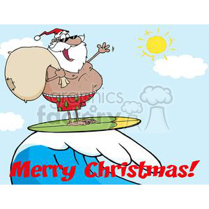 African-American-Santa-Claus-Carrying-His-Sack-While-Surfing clipart. Commercial use image # 381377