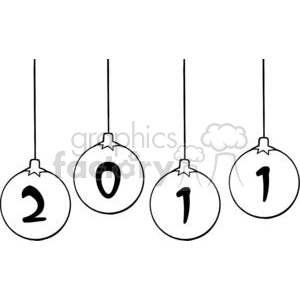 2011-Year-Christmas-Balls clipart. Commercial use image # 381387