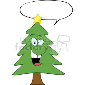 Cartoon-Chrictmas-Tree-With-Star-And-Speech-Bubble clipart. Royalty-free image # 381392