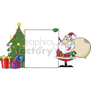 Santa-Claus-Presenting-A-Blank-Sign-With-Christmas-Tree clipart. Royalty-free image # 381397