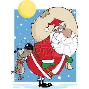 3859-Dog-Biting-A-African-American-Santa-Claus clipart. Royalty-free image # 381407