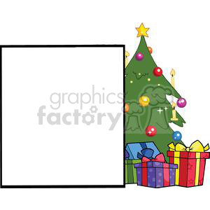 Presenting-A-Blank-Sign-With-Christmas-Tree clipart. Royalty-free image # 381412