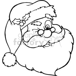 cartoon funny Christmas Xmas Holidays vector illustrations Santa+Claus black+white outline head