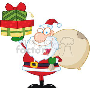 Santa-Holding-Up-A-Stack-Of-Gifts clipart. Royalty-free image # 381422