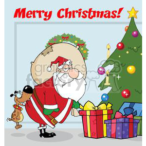 3866-Dog-Biting-A-Santa-Claus-Under-A-Christmas-Tree clipart. Royalty-free image # 381427