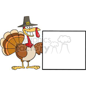 Turkey-Cartoon-Character-Presenting-A-Blank-Sign clipart. Royalty-free image # 381447