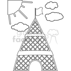 Eiffel Tower Paris Europe France architecture building buildings cartoon black+white