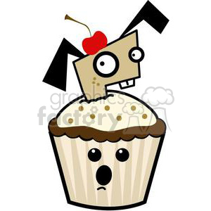 cupcake with a puppy popping out of it clipart. Royalty-free image # 381642