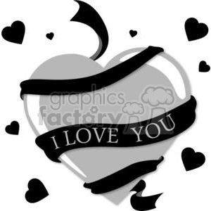 black and gray heart with an I love you ribbon