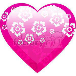 pink floral heart clipart. Commercial use image # 381707