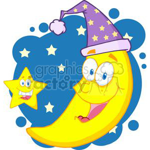 4084-Happy-Star-And-Moon-Mascot-Cartoon-Characters clipart. Royalty-free image # 381954