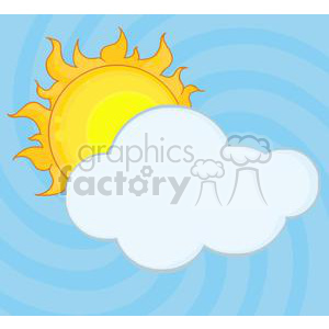 4030-Yellow-Sun-Shining-Hiding-Behind-Cloud clipart. Commercial use image # 381959