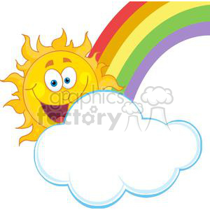 4045-Happy-Sun-Mascot-Cartoon-Character-Hiding-Behind-Cloud-And-Rainbow