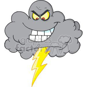 4068-Cartoon-Black-Cloud-With-Lightning clipart. Royalty-free image # 381984