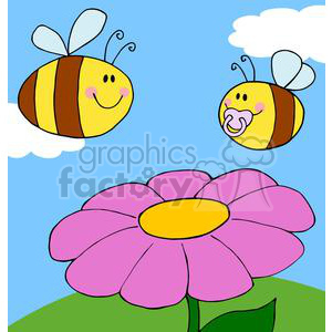 4126-Mother-Bee-Fflying-With-Baby-Bee-Over-Flower clipart. Commercial use image # 381989