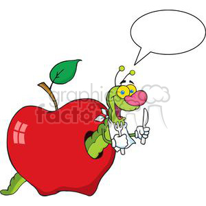 a green worm in an apple  clipart. Royalty-free image # 381994