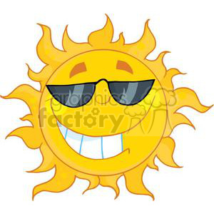 4039-Smiling-Sun-Mascot-Cartoon-Character-With-Sunglasses clipart. Royalty-free image # 382029