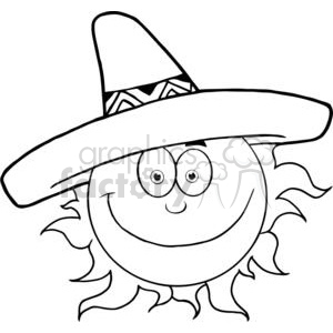 4057-Smiling-Sun-With-Sombrero-Hat clipart. Commercial use image # 382034