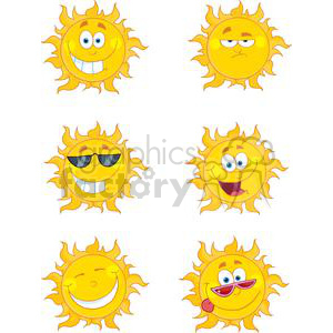 4066-Happy-Sun-Mascot-Cartoon-Characters-Set clipart. Royalty-free image # 382039