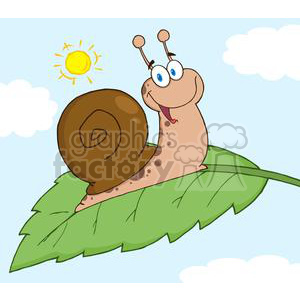 happy cartoon snail on a leaf