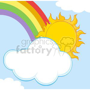 sun hiding behind cloud and rainbow clipart. Royalty-free image # 382049