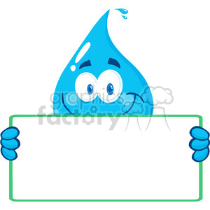 12859 RF Clipart Illustration Happy Water Drop Character Holding A Banner clipart. Royalty-free image # 385089