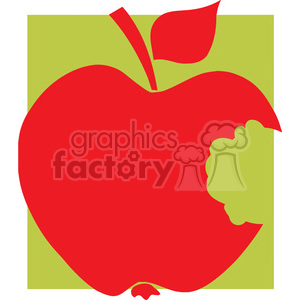 12913 RF Clipart Illustration Bitten Apple Red Silhouette With Green Background clipart. Royalty-free image # 385109
