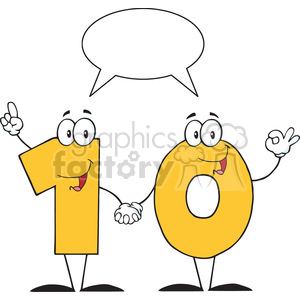 128120 RF Clipart Illustration Number Ten Cartoon Character With Speech Bubble clipart. Royalty-free image # 385119