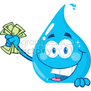 12870 RF Clipart Illustration Happy Water Drop Holding Money Over A Sign clipart. Royalty-free image # 385129