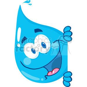 Happy Water Drop Looking Around A Sign clipart. Commercial use image # 385149