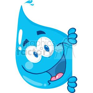 cartoon vector illustration water drop liquid character peak sneaky rain+drop