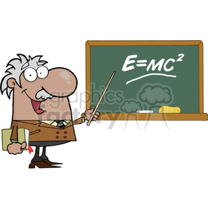 12833 RF Clipart Illustration African American Professor Pointing To Green Chalk Board With Einstein Formula E=mc2 clipart. Royalty-free image # 385159