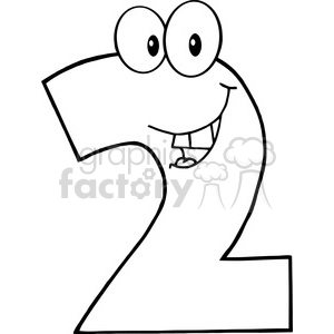 cartoon funny education school learning numbers character happy 2 two black white