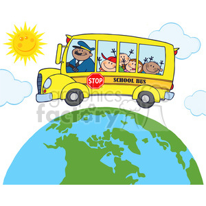 5050-clipart-illustration-of-happy-children-on-school-bus-around-earth