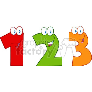 cartoon funny education school learning numbers 3 three orange 1 one 2 two red green