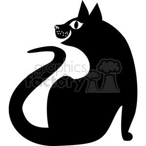 vector clip art illustration of black cat 038