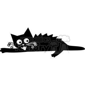 vector clip art illustration of black cat 043